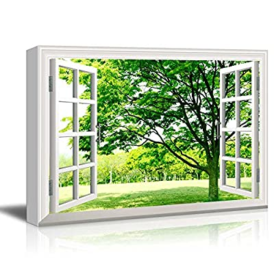 Canvas Wall Art - Window Facing a Forest with Green Trees - Giclee Print Gallery Wrap Modern Home Art Ready to Hang - 12x18 inches
