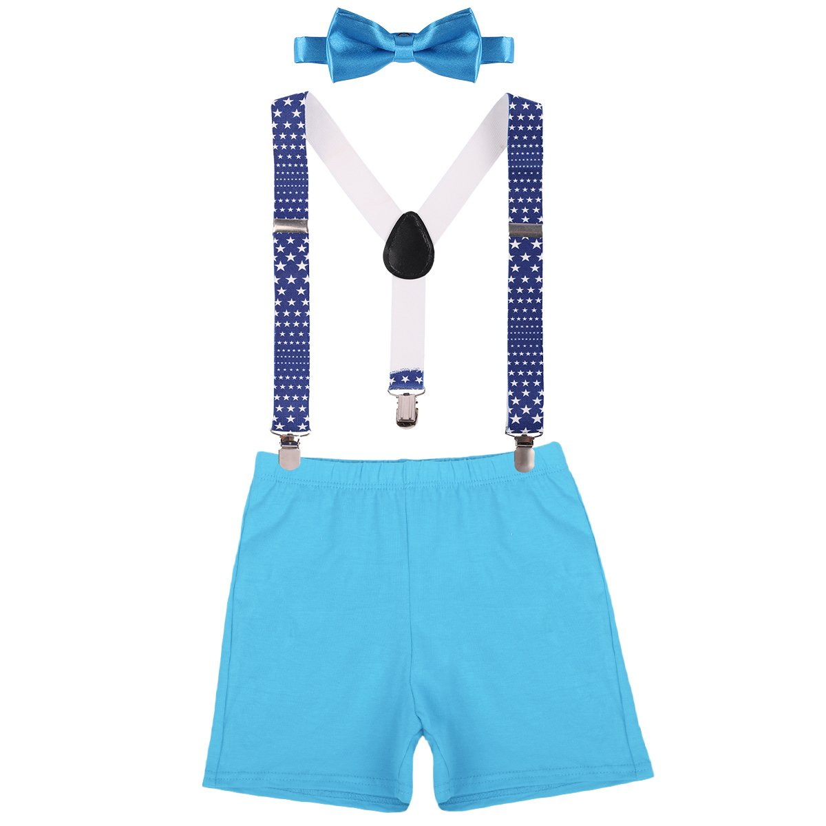 Baby Boys First Birthday Adjustable Y Back Elastic Clip Suspenders Cake Smash Outfit Tuxedo Pre-tied Bloomers Bowtie set Z# Blue+Star