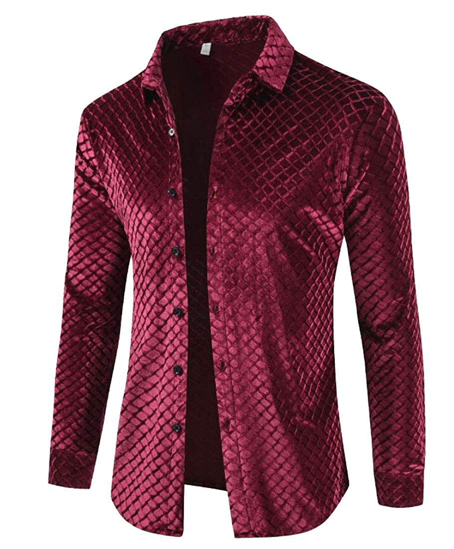 Rrive Mens Long Sleeve Velvet Button Up Print Warm Classic Shirts