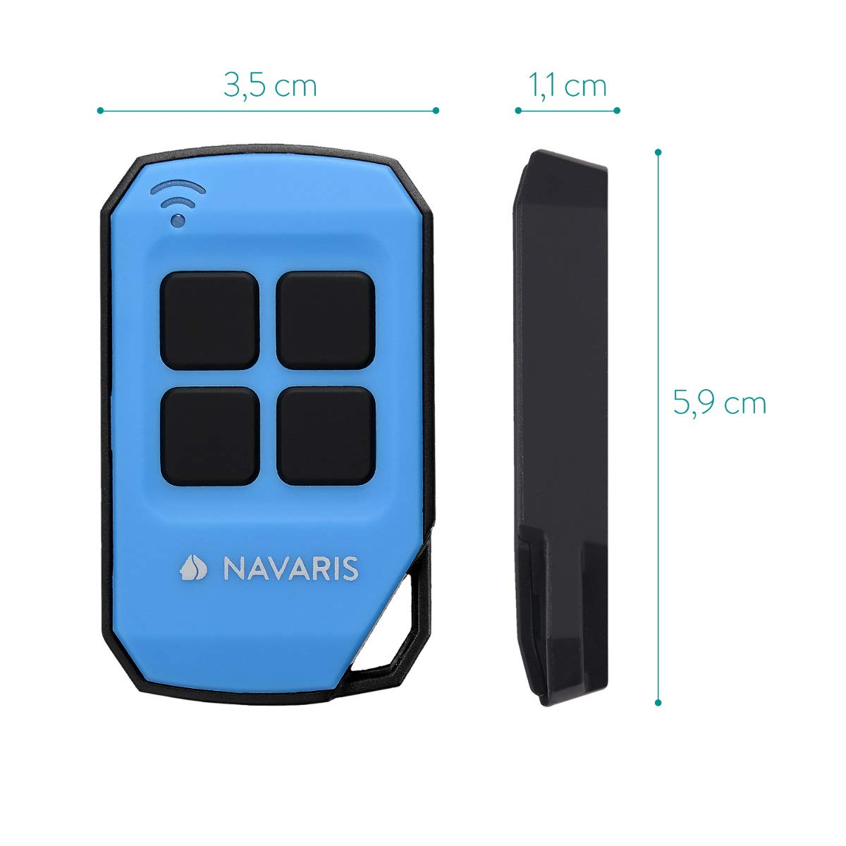 Transmisor en negro Mando a distancia inal/ámbrico para puerta de garaje Navaris control remoto de 433 MHz Duplicador de c/ódigos universal