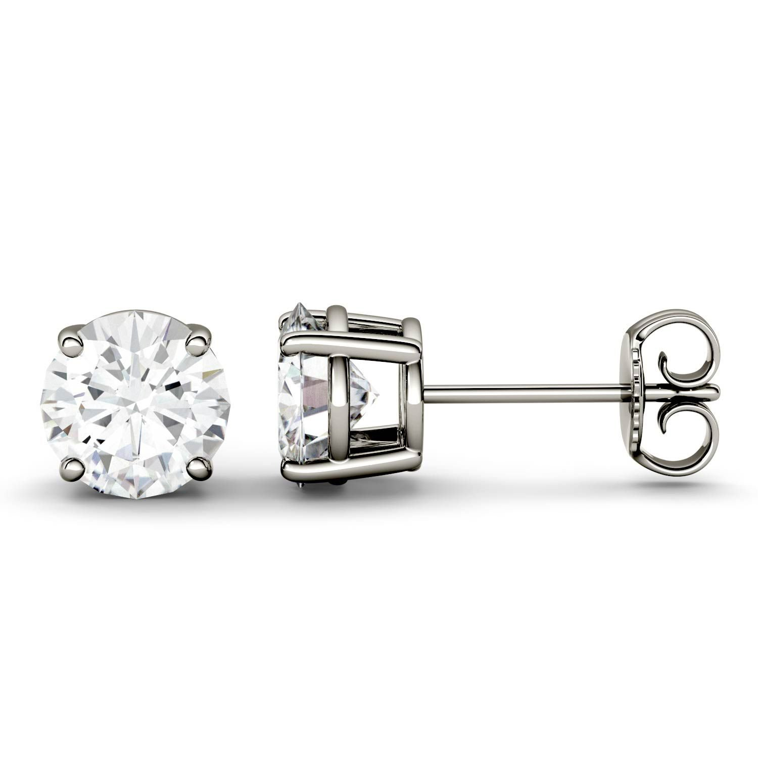 Forever One 4.0mm Round Moissanite Stud Earrings, 0.46ct DEW (G-H-I) By Charles & Colvard by Charles & Colvard