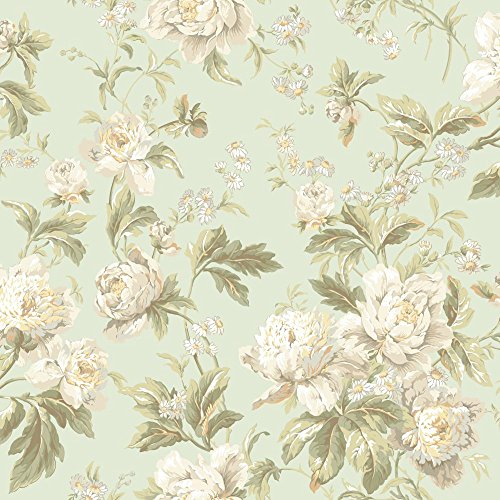 - York Wallcoverings Waverly Classics Forever Yours Removable Wallpaper, Pale Mint/White/Beige/Light Gray/Apricot/Butter/Sage/Dark Green