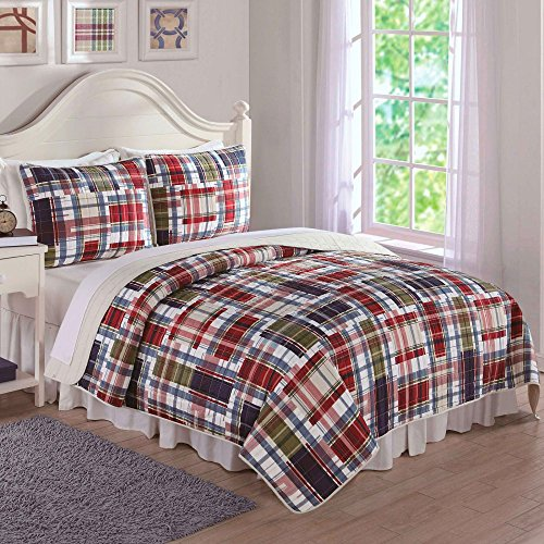 Discount Laura Hart Navy Khaki Preppy Plaid Quilt Set free shipping