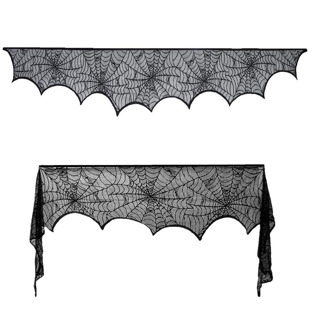 Halloween Decoration -Black Lace Spiderweb Fireplace Mantle Scarf Cover for Festive Party and Halloween Party Indoor Kitchen Christmas Party Door Window Decoration 18 x 96 inch (2pcs black)
