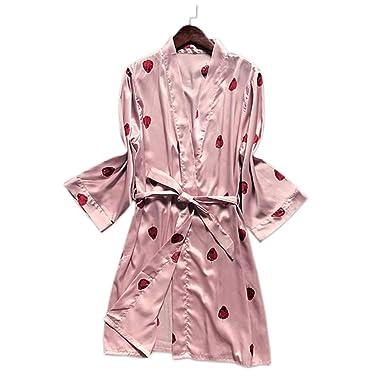YTFOPLK Fresas Frescas Batas De Satén Llanas Batas De Baño De Mujer Kimono Batas De Novia Bata Sexy Delicada De Satén Rosa para Mujer, Rosa-L: Amazon.es: ...
