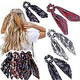 8 pcs Floral Print Scrunchie Women Hair Scarf Elastic Hairband Bow Hair Rubber Ropes Girls Hair Ties Accessories