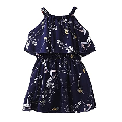 d0e4e712de30 Hougood Girls Summer Dress Printed Princess Dress Off Shoulder Kids Dresses  Casual Dress Age 3-13 Years Old  Amazon.co.uk  Clothing