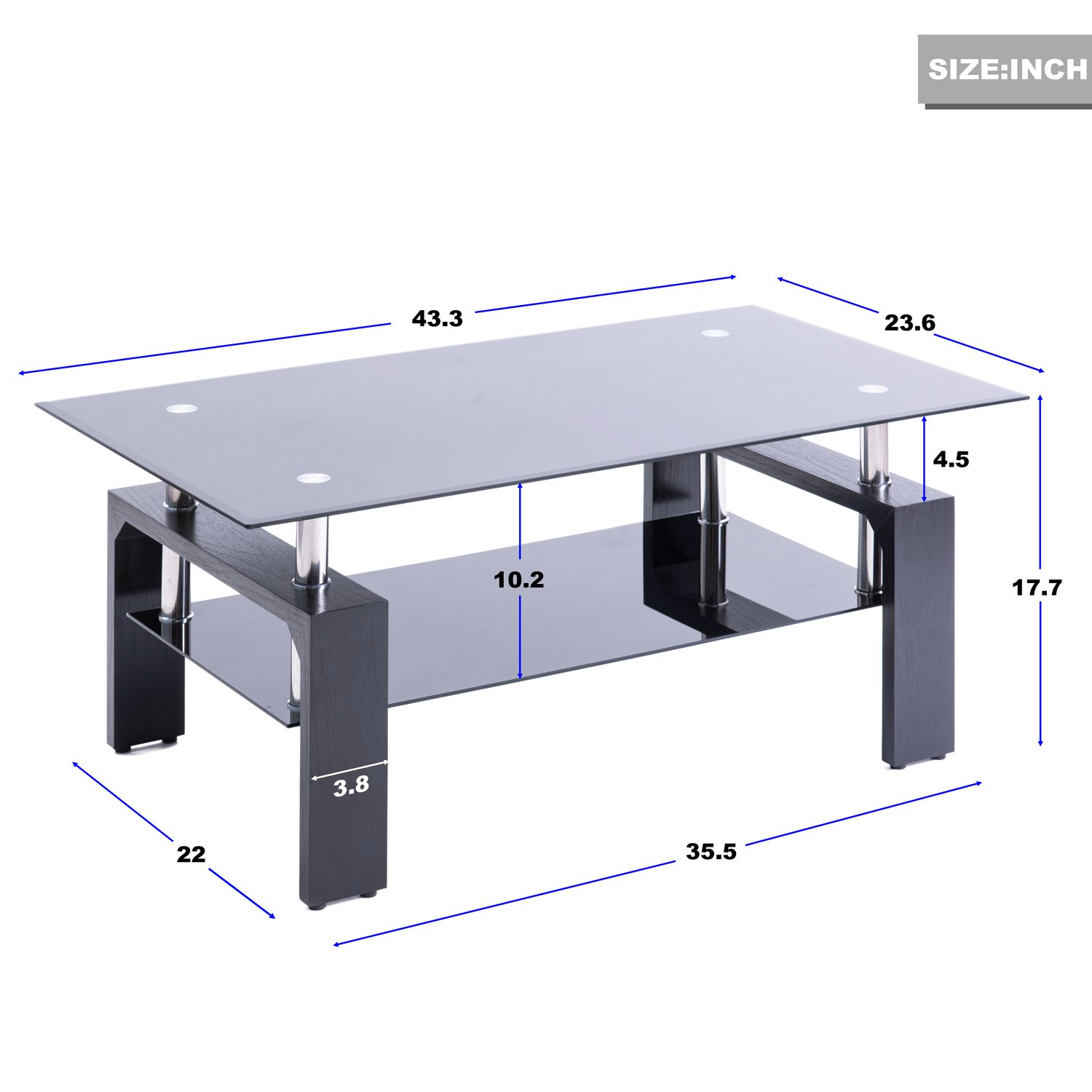 ae460c7cf0f Amazon.com  Merax Distinctive Design Coffee Tea Table with 2-Tiers Glass  Top and Black Wooden Legs  Kitchen   Dining
