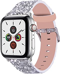 Wolait Compatible with Apple Watch Band 42mm 44mm Series 6/5/4/3/2/1/SE, iWatch Leather Glitter Sparkly Wristband Bracelet for Women (42mm/44mm Silver)