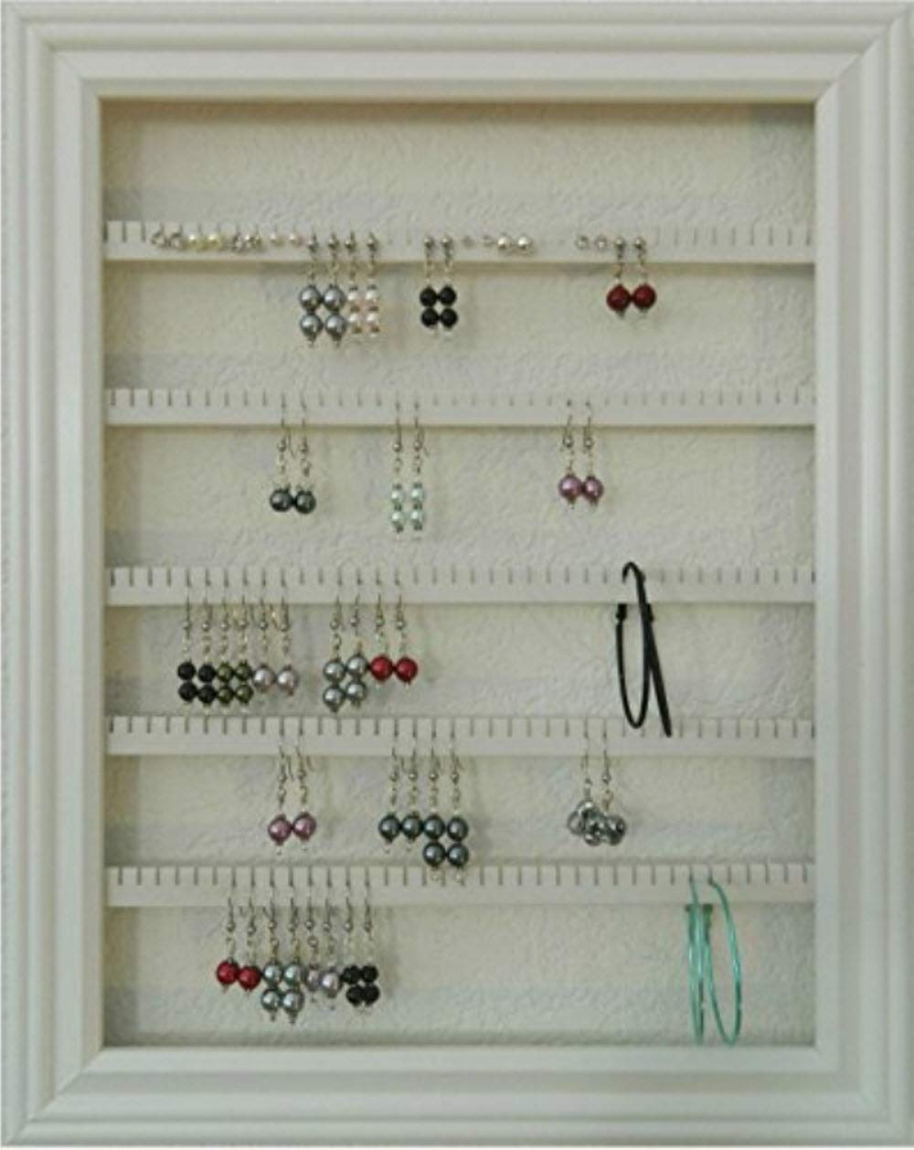 Earring Holder Organizer Storage Jewelry Rack - Wall Mounted Picture Frame Hanging Jewelry Display - Available in White, Medium