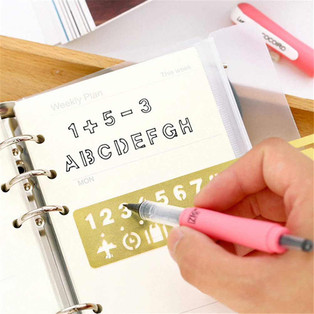 SUPVOX 2pcs English Alphabets Stencil Arabic Numerals Templates Retro Brass Letter Number Stencils with Symbols for DIY Art Drawing Bookmarks Drafting Supplies