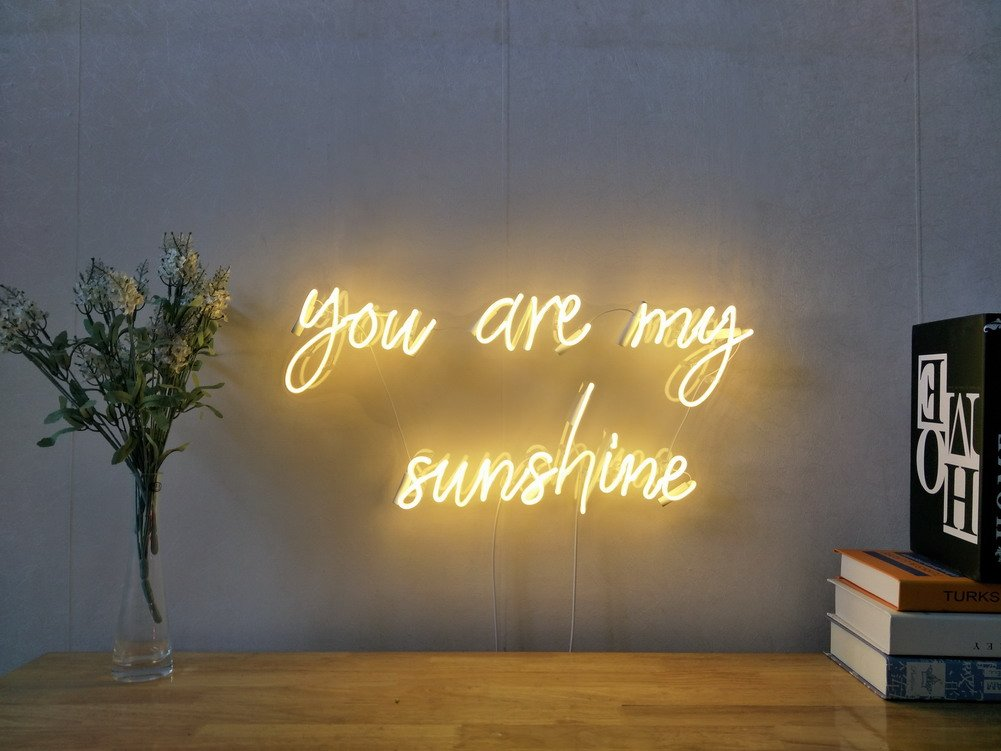 You Are My Sunshine Real Glass Neon Sign For Bedroom Garage Bar Man Cave Room Home Decor Handmade Artwork Visual Art Dimmable Wall Lighting Includes Dimmer