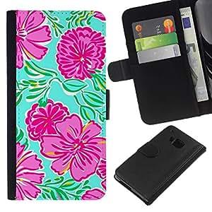 All Phone Most Case / Oferta Especial Cáscara Funda de cuero Monedero Cubierta de proteccion Caso / Wallet Case for HTC One M7 // Floral Art Spring Nature Green