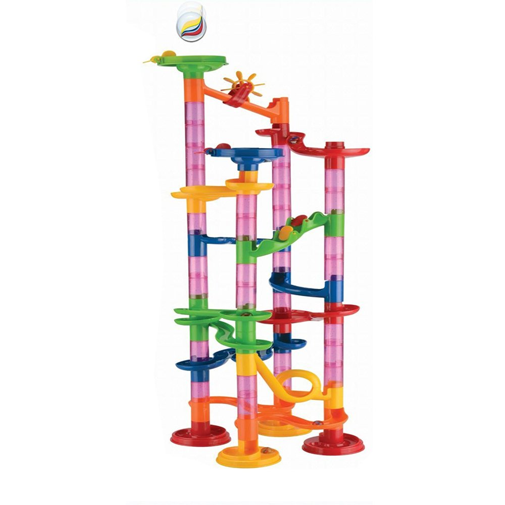 Barbariol Marble Runs Toy Set Marble Race Coaster Set Railway Toys Construction Building Blocks Toys Set Gift For Kids Toddler 80pcs (A)