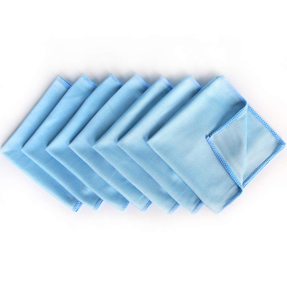 AutoCare Microfiber Glass Cleaning Cloths for Dishes Eyeglasses Car Windows Mirrors Computer Screen TV Tablets Camera Lenses Chemical Free Lint free Scratch Free (12''x12'', Blue, 8 Pack)