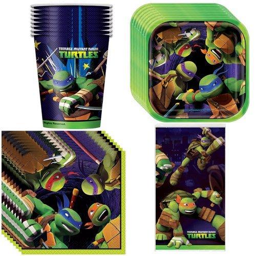 Teenage Mutant Ninja Turtles Party Supplies Pack Including Plates, Cups, Napkins and Tablecover - 8 (Ninja Turtle Sai)