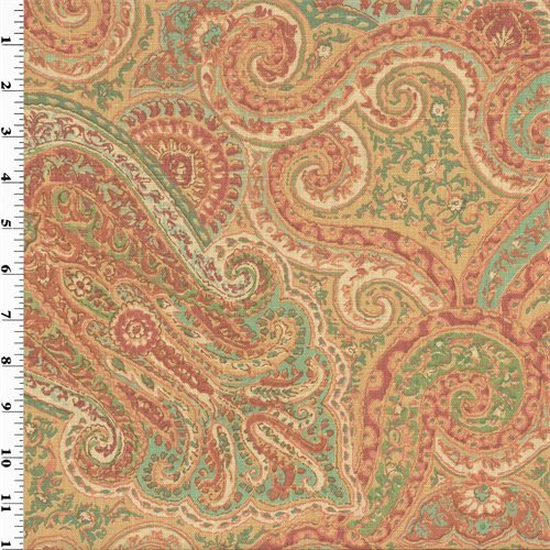 (Designer Linen Coral/Teal Paisley Print Home Decorating Fabric, Fabric by The Yard)