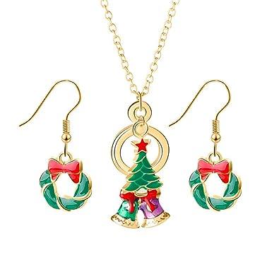 28d68d42f60e8 Ogquaton Collier et boucles d'oreilles 'Noel' Ensemble de cadeaux pour les  filles