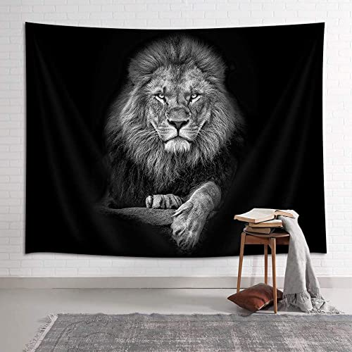 NYMB Lion Tapestry, Wild Animal African Lion on Black Background, Tapestries Wall Hanging for Bedroom Living Room Collage Dorm Room