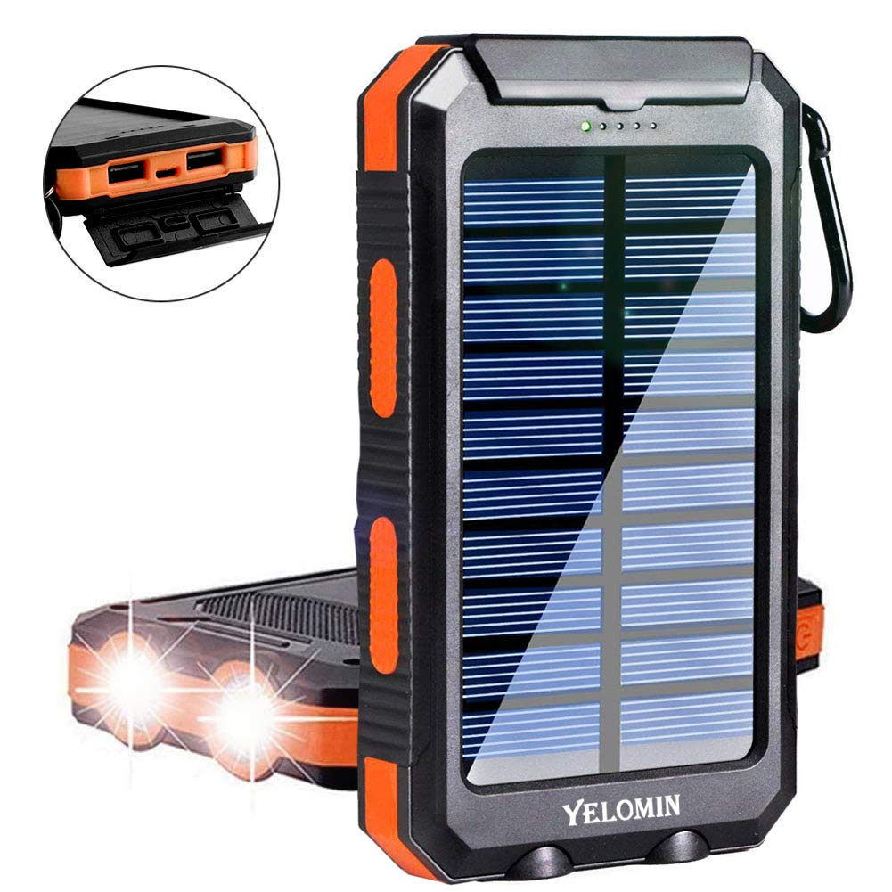 Solar Charger,Yelomin 20000mAh Portable Outdoor Waterproof Mobile Power Bank,Camping External Backup Battery Pack Dual USB 5V 1A/2A Output 2 Led Light Flashlight with Compass for Tablet iPhone Android by YELOMIN