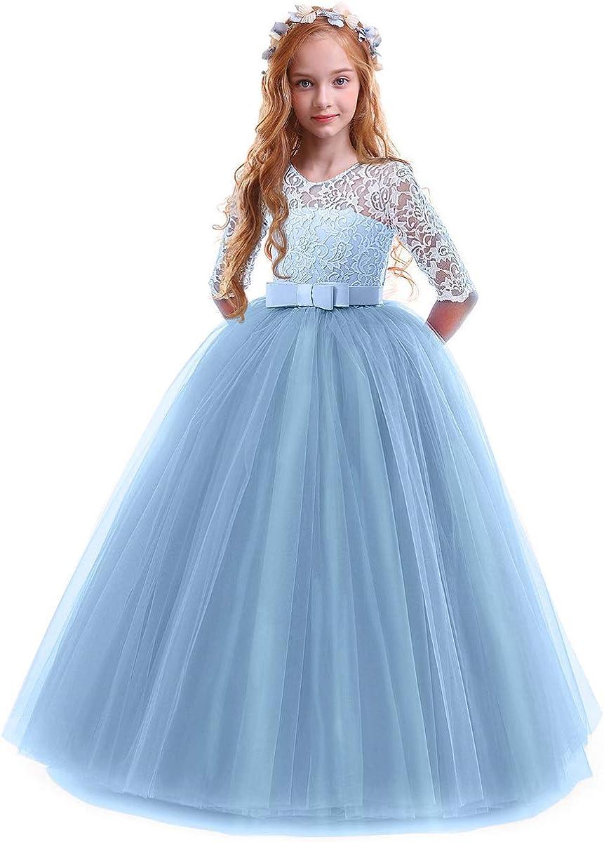 OBEEII OBEEII Prinzessin Kleid Mädchen Abendkleid für Hochzeit