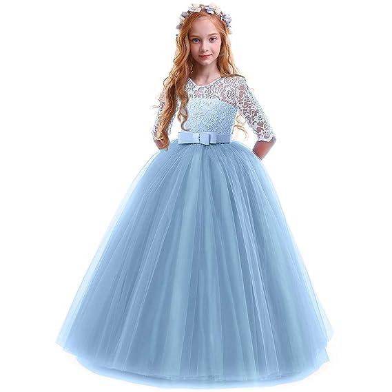 Owlfay Vestido Largo De Encaje Princesa Para Niñas Formal Boda Dama De Honor Fiesta Primera Comunión