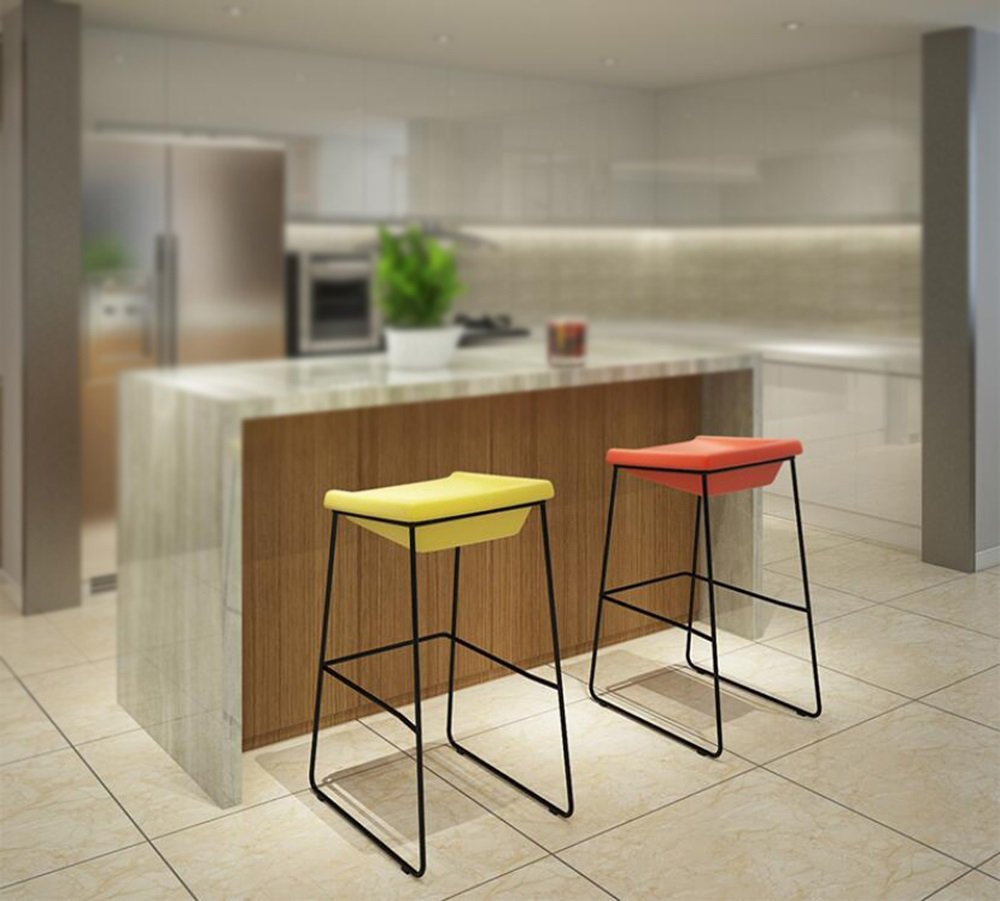European bar chairs / stools / chair / comfortable leisure contracted iron / iron tripod linen cushion process ( Color : Yellow , Size : A ) by Xin-stool