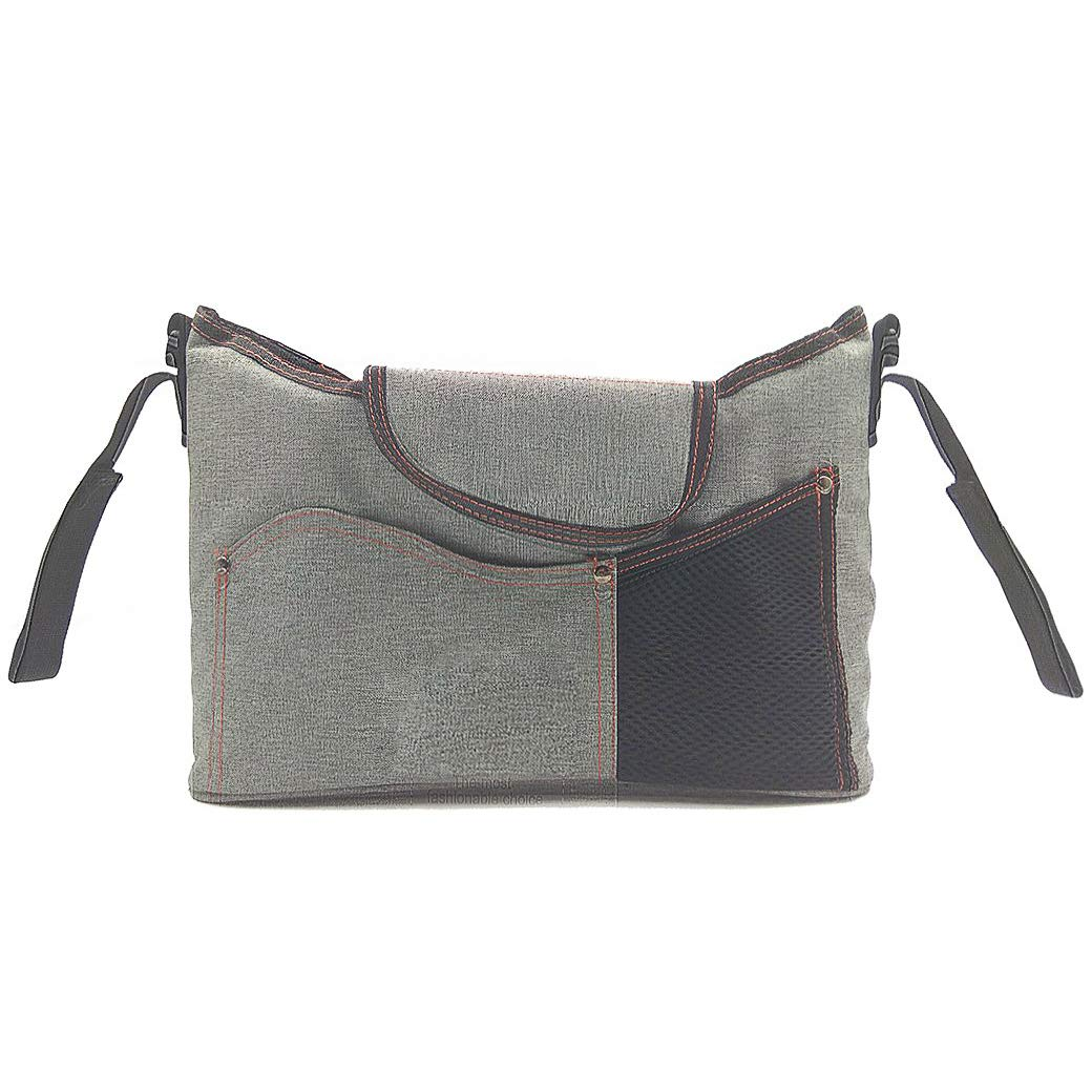 Lujuny Baby Stroller Organizer Bag with Cup Holder - Mom Hanging Storage Travel Bag (Light Gray)