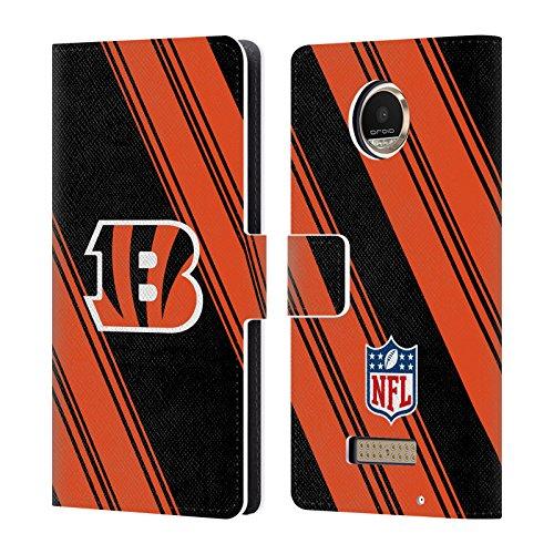 Official NFL Stripes 2017/18 Cincinnati Bengals Leather Book Wallet Case Cover for Motorola Moto Z Play/Droid - Cincinnati Bengals Book Cover
