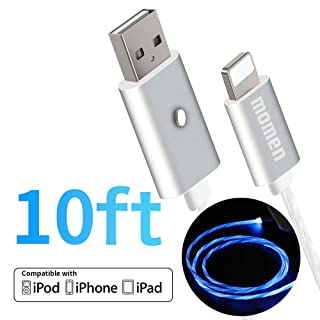 LED Charging Cable 10ft Compatible for iPhone 11/11 Pro/11 Pro Max/Xs/XS Max/XR/X / 8/8 Plus / 7/7 Plus More, Momen LED Visible Flowing Charging Cord with 5 Light Modes(Blue Light)