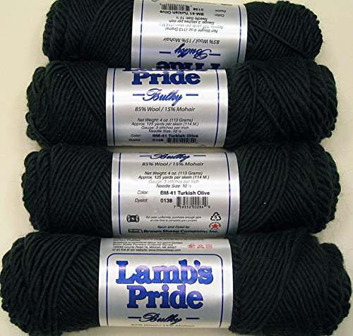 Yarn Place Brown Sheep Lambs Pride Bulky Weight Turkish Olive 4 skeins - First -