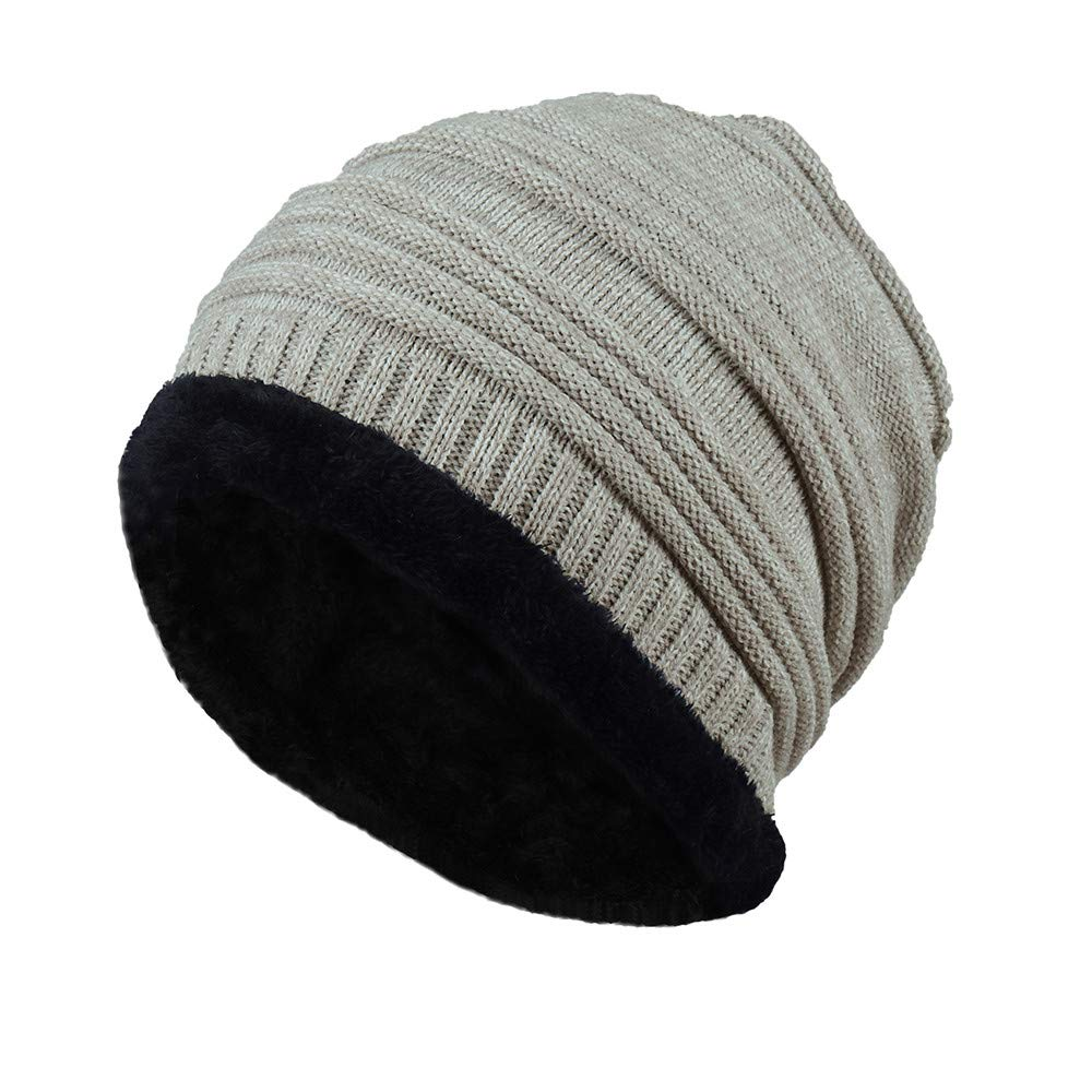 GzxtLTX Beanies Hat Fleece Lined Thick Slouchy Stretch Knitted Warmer Winter Skull Cap Unisex Women Men