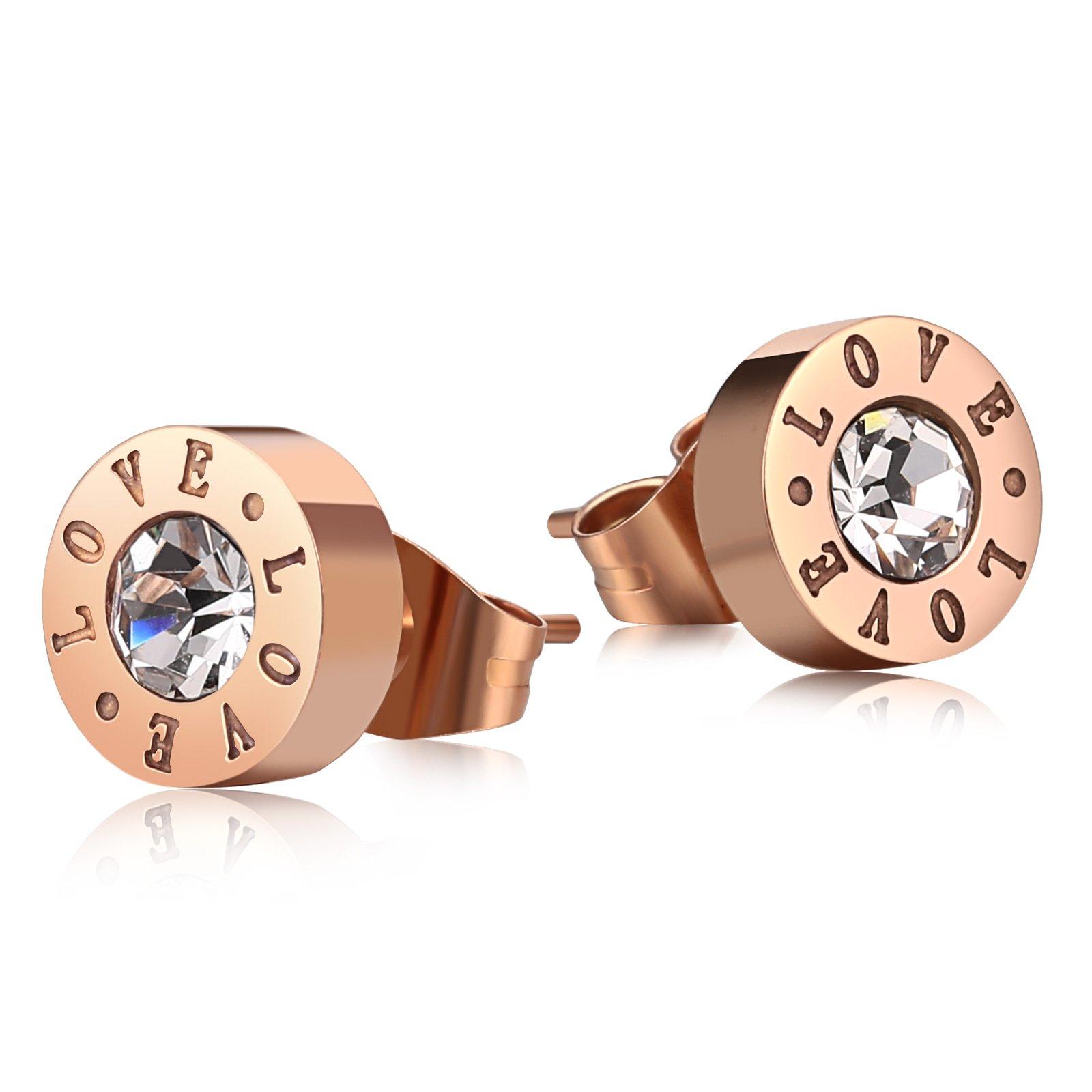 MoAndy CZ Stud Earrings for Women Stainless Steel Engraved LOVE AAA Zircon Round Earrings Rose Gold