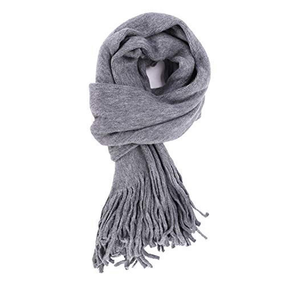 Lange Schal Damen Frauen Winterschal Winter Herbst Strickschal Unifarben Schlauchschal modisch /übergro/ß dick Deckenschal warm Weich scarf Wandern Outdoor Baumwollschal mit Quaste als Geschenk