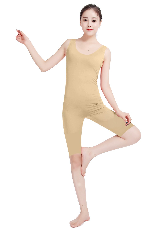 Ensnovo Womens Spandex Sleeveless knee length Tank Starps Sports Unitard Nude, S