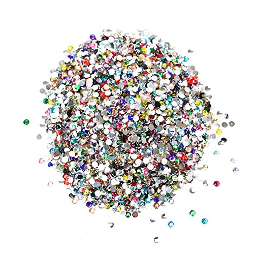 Buorsa 10000 Pieces Gems Acrylic Craft Jewels Flatback Rhinestones Gemstone Embellishments Art Rhinestones Round Beads Flatback Glass Charms Gems Stones Assorted Color