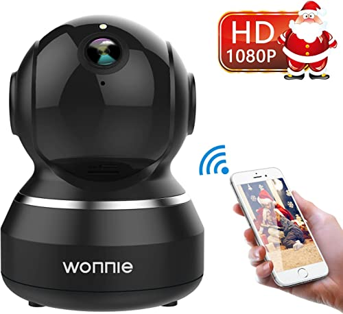 WONNIE Wireless Camera, 1080P HD Security Monitor 2.4G WiFi IP Camera Motion Detection Night Vision for Baby Elder Pet, Two-Way Audio Cloud Service Available Webcam Black