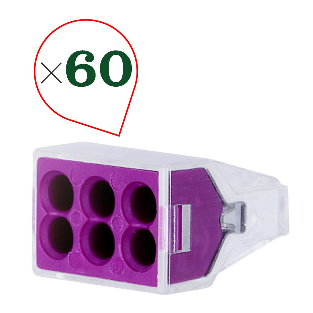 HIFROM 6 Port Electrical Push Wire Cable Connector for Junction Boxes 18 to 14 Awg 600V Set of 60pcs