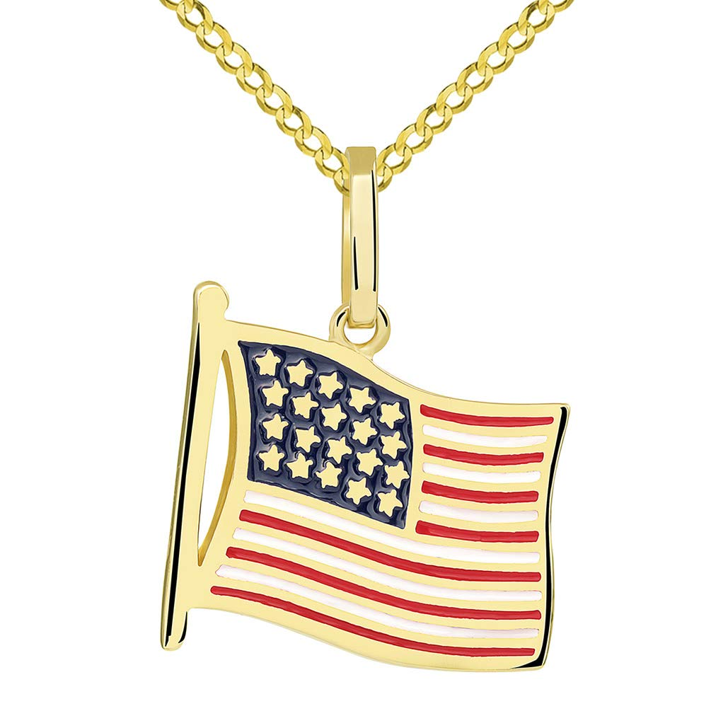 14k Yellow Gold National Flag of the United States of America Pendant with Cuban Necklace, 22''