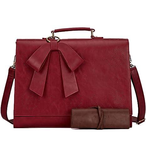 6c697a4cf6ca SOSATCHEL Faux Leather Messenger Bag for Women, 15.6 Inch Laptop Bag  Briefcase Satchel Shoulder Bag, Red