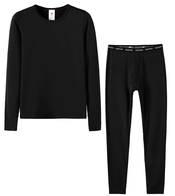 LAPASA Boys Thermal Underwear Long John Set Fleece Lined Base Layer Top Bottom B03, Black,XS(Height 105-115cm) by LAPASA