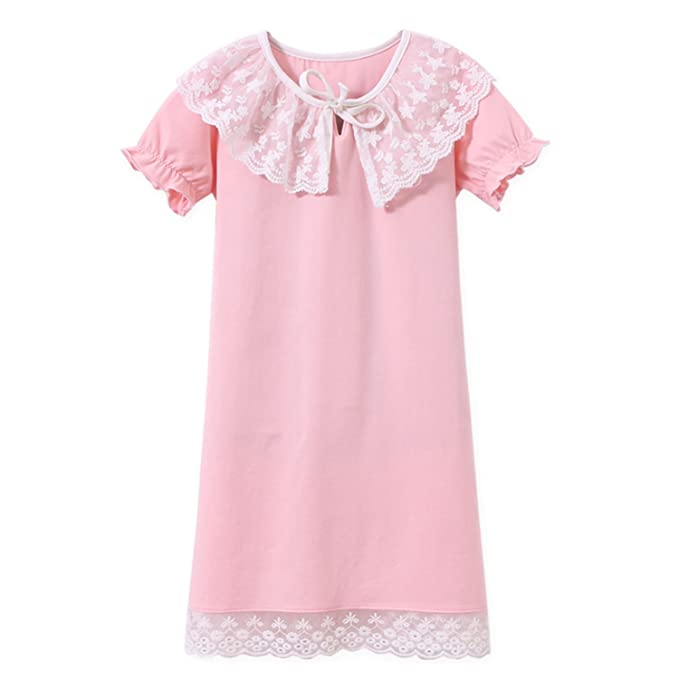 e4094cc186 Amazon.com  AOSKERA Girls  Lace Nightgowns Cotton Sleepwear Puff Sleeve  Sleep Shirt for 3-12 Years  Clothing