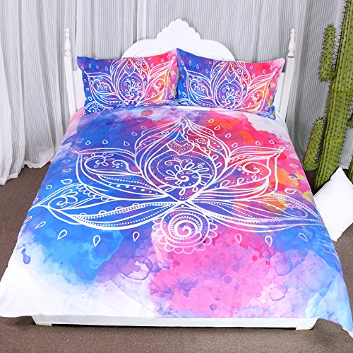 Arightex Boho Lotus Bedding 3D Watercolor Flowers Duvet Cover Rainbow Girls Bedding Set India Home Decor (Queen) (Sham Meaning Bedding)