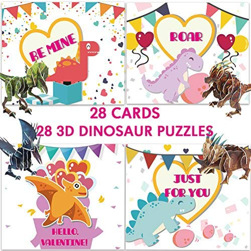 Valentines Day Cards for Kids with Dinosaur 3D Puzzle,Gift for Childrens Student Child Classmate,Valentine's Idea for School Classroom-Pack of 28 Cards with 4 Different Patterns