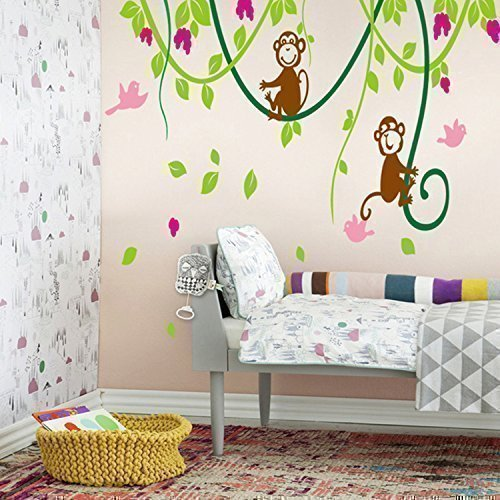 Large Naughty Monkeys On Tree Vine Wall Art Sticker Decal For