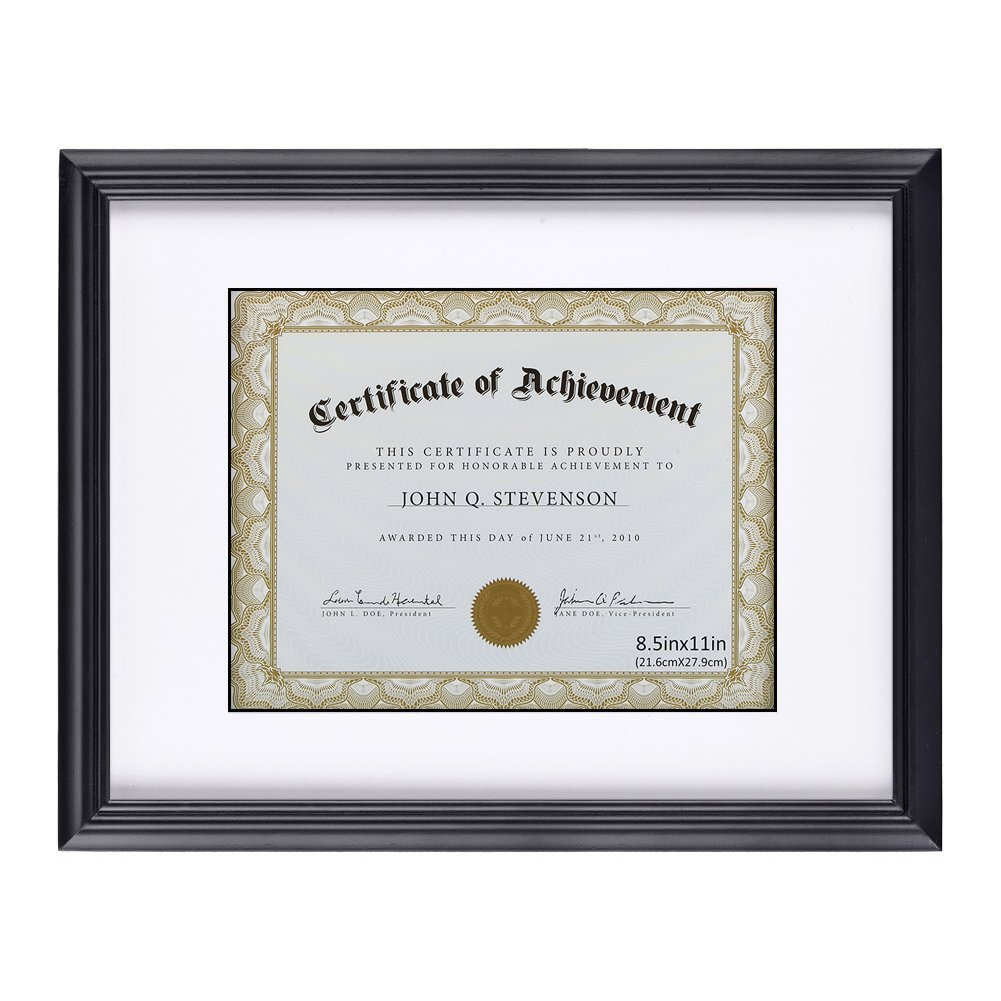 RPJC Document Frame/Certificate Frames Made of Solid Wood High Definition Glass and Display Certificates Standard Paper Frame 11X14 Mat 8.5x11 Black