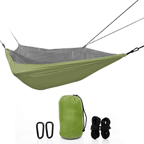 ETCBUYS Two Person Camping Hammock – Lightweight Nylon Portable Hammock, Parachute Double Hammock for Backpacking, Camping, Travel, Beach, Backyard – Hammock Ropes Included