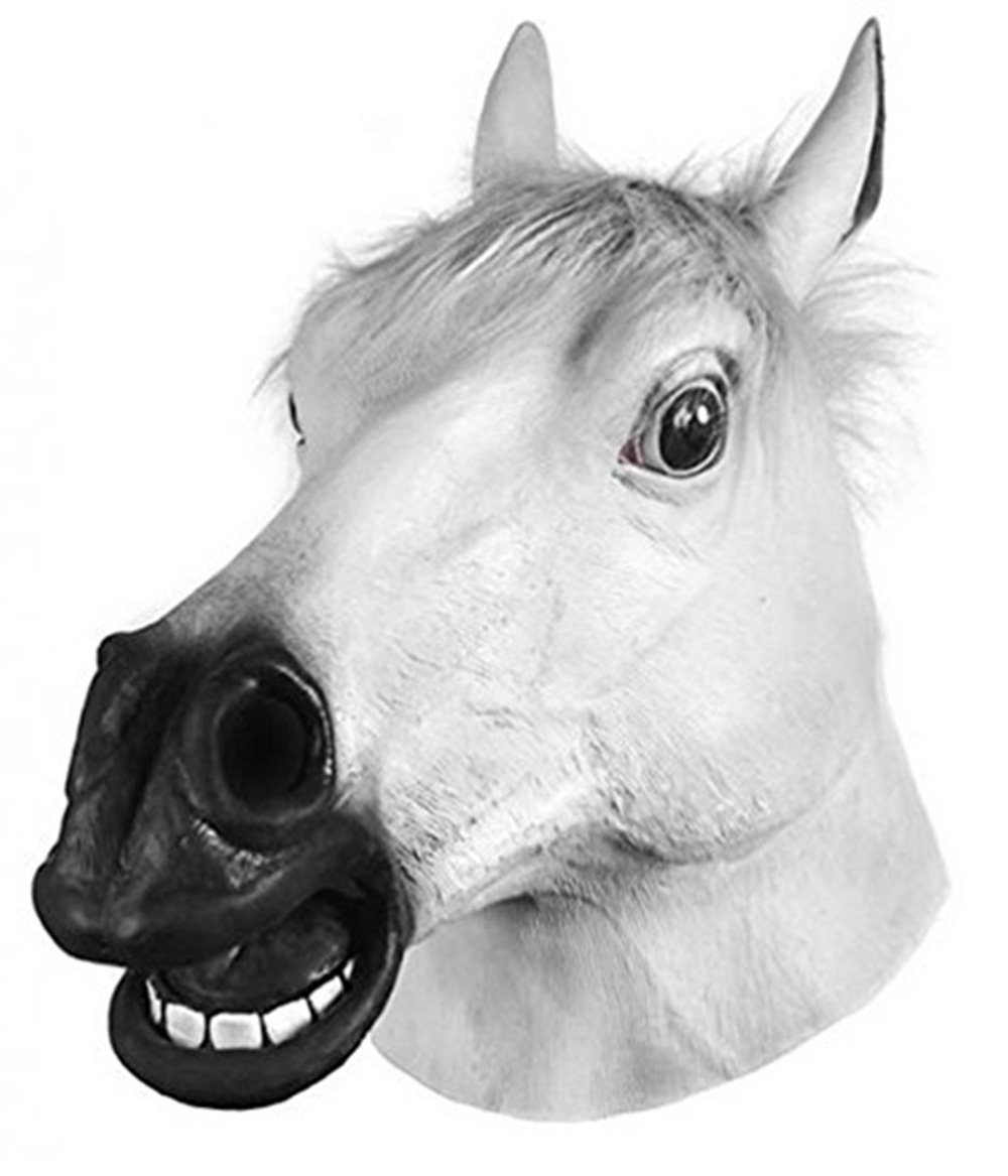Amazon com miyaya horror scary white horse head mask for halloweenmasqueradecarnivalchristmaseaster or any other parties toys games