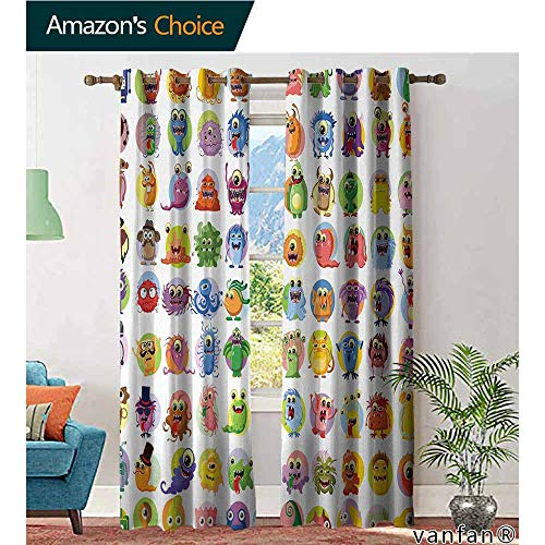 LQQBSTORAGE Animation,Curtains,Cute Little Graphic Baby Mosters Great for Kids Nursery Room Colored Cartoons Art,Treatments Thermal Insulated Light Blocking Drapes Back for Bedroom,Multicolor