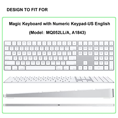 ProElife Ultra Thin Silicone Full Size Wireless Bluetooth Numeric Keyboard  Cover Skin for 2017 2018 Release Apple iMac Magic Keyboard with Numeric